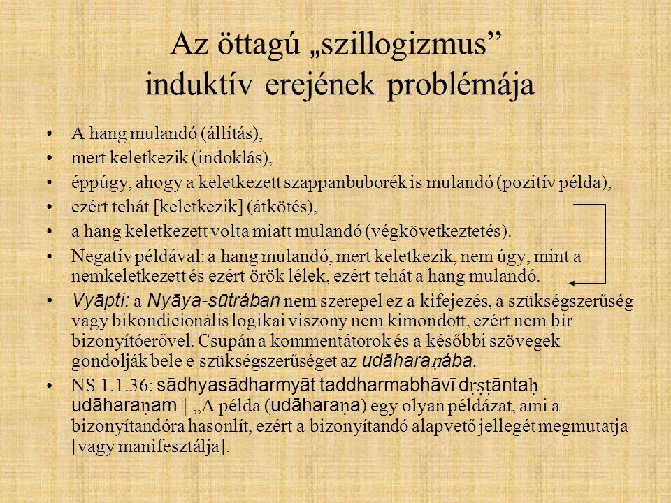 """Az öttagú """" szillogizmus"""" induktív erejének problémája A hang mulandó (állítás), mert keletkezik (indoklás), éppúgy, ahogy a keletkezett szappanbuboré"""