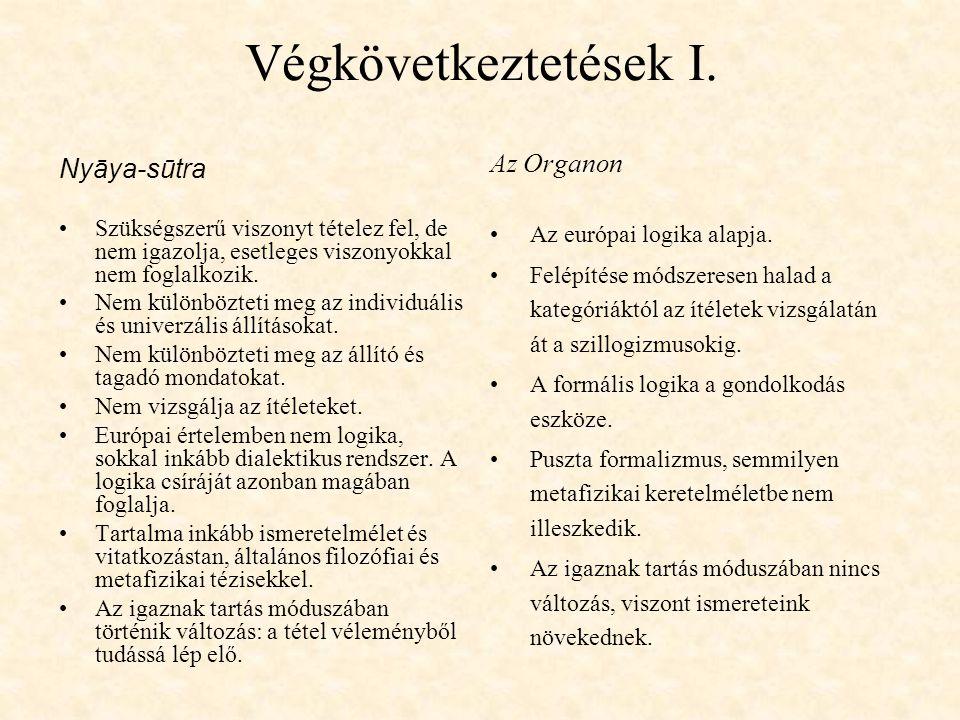 Végkövetkeztetések I. Nyāya-sūtra Szükségszerű viszonyt tételez fel, de nem igazolja, esetleges viszonyokkal nem foglalkozik. Nem különbözteti meg az