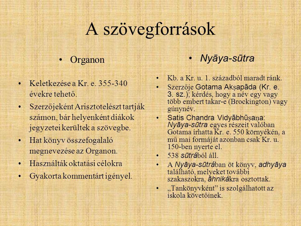 A szövegforrások Organon Keletkezése a Kr. e. 355-340 évekre tehető. Szerzőjeként Arisztotelészt tartják számon, bár helyenként diákok jegyzetei kerül