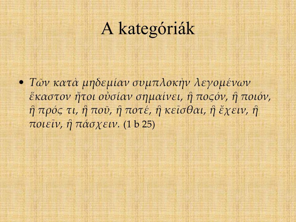 A kategóriák Τῶν κατὰ μηδεμίαν συμπλοκὴν λεγομένων ἕκαστον ἤτοι οὐσίαν σημαίνει, ἣ ποςόν, ἣ ποιόν, ἣ πρός τι, ἣ ποῦ, ἣ ποτέ, ἣ κεῖσθαι, ἣ ἔχειν, ἣ ποι