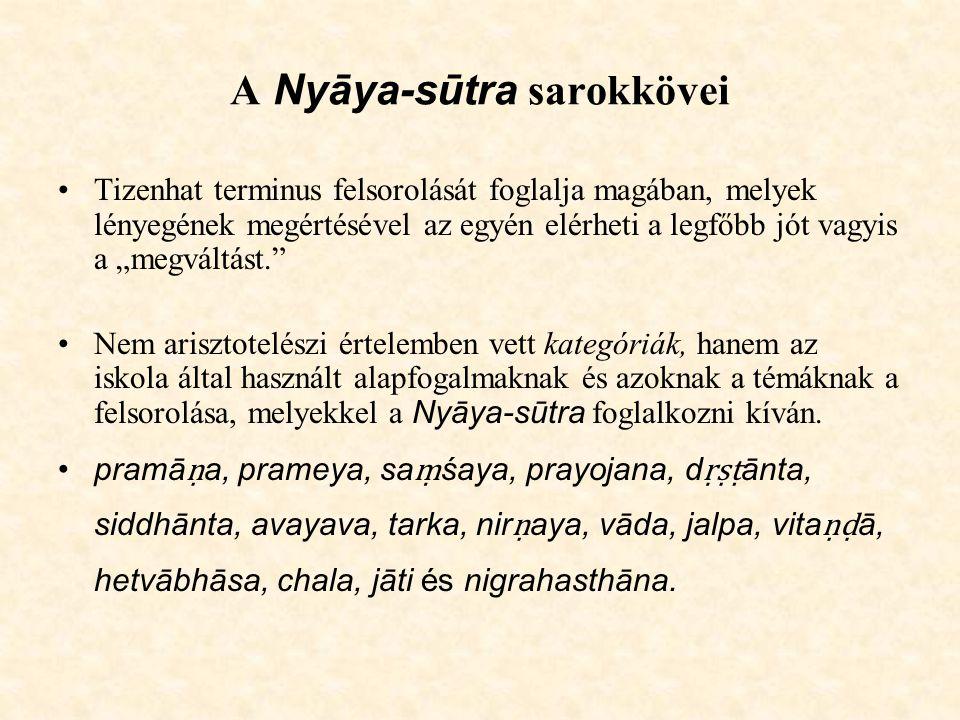 """A Nyāya-sūtra sarokkövei Tizenhat terminus felsorolását foglalja magában, melyek lényegének megértésével az egyén elérheti a legfőbb jót vagyis a """"meg"""