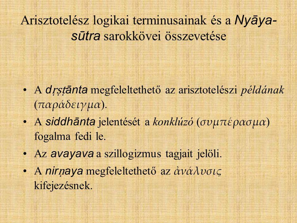 Arisztotelész logikai terminusainak és a Nyāya- sūtra sarokkövei összevetése A d ṛṣṭ ānta megfeleltethető az arisztotelészi példának ( παράδειγμα ). A