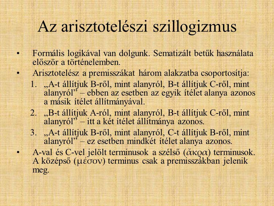 Az arisztotelészi szillogizmus Formális logikával van dolgunk. Sematizált betűk használata először a történelemben. Arisztotelész a premisszákat három