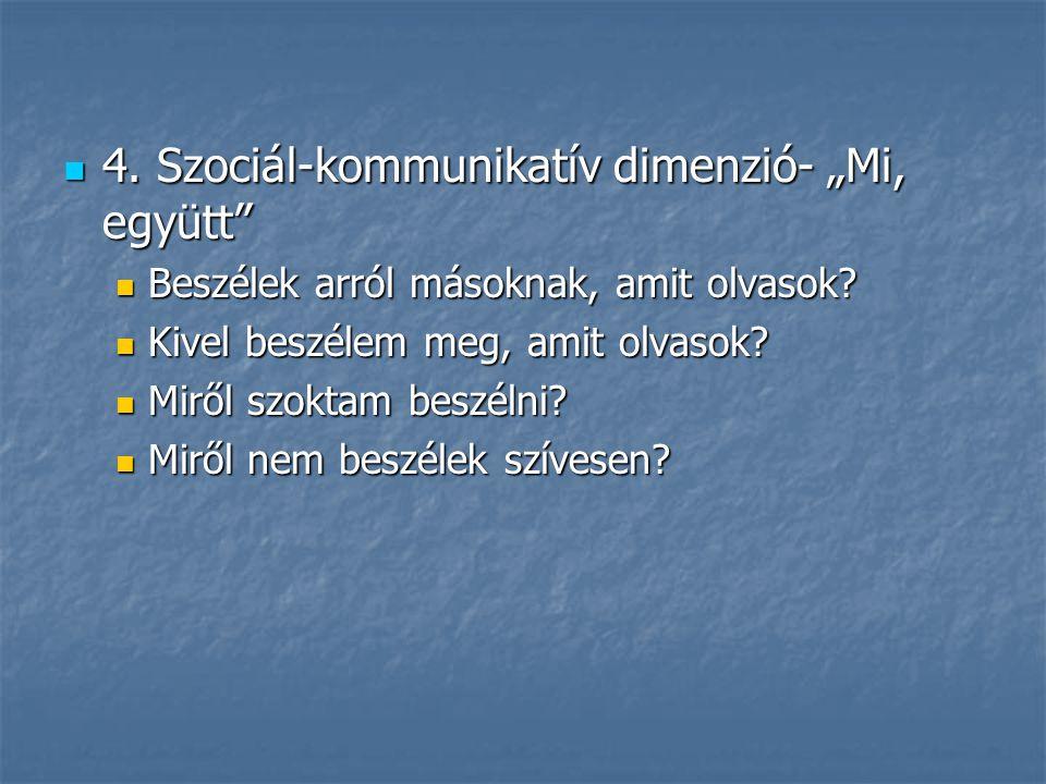 """4. Szociál-kommunikatív dimenzió- """"Mi, együtt"""" 4. Szociál-kommunikatív dimenzió- """"Mi, együtt"""" Beszélek arról másoknak, amit olvasok? Beszélek arról má"""