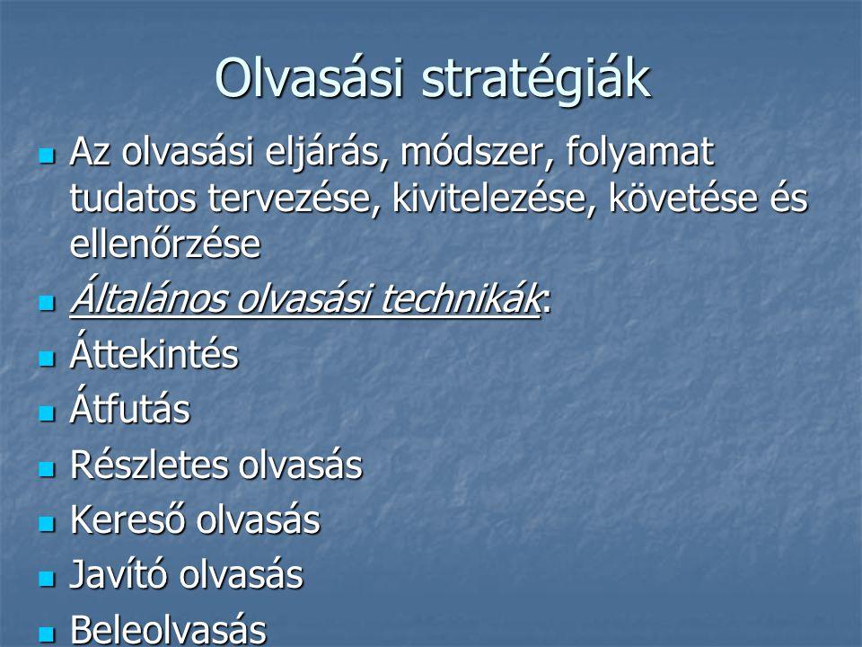 Olvasási stratégiák Az olvasási eljárás, módszer, folyamat tudatos tervezése, kivitelezése, követése és ellenőrzése Az olvasási eljárás, módszer, foly