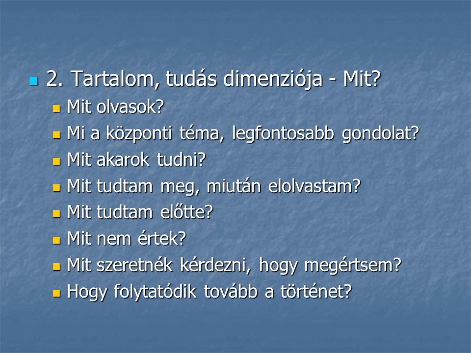 2. Tartalom, tudás dimenziója - Mit? 2. Tartalom, tudás dimenziója - Mit? Mit olvasok? Mit olvasok? Mi a központi téma, legfontosabb gondolat? Mi a kö