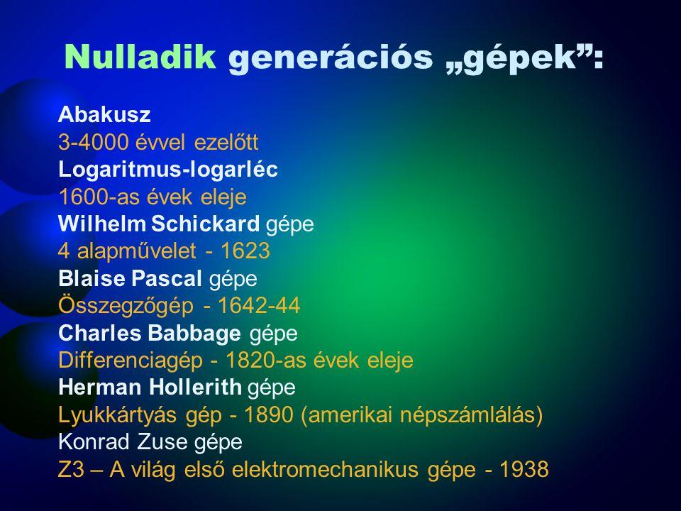 """Nulladik generációs """"gépek"""": Abakusz 3-4000 évvel ezelőtt Logaritmus-logarléc 1600-as évek eleje Wilhelm Schickard gépe 4 alapművelet - 1623 Blaise Pa"""