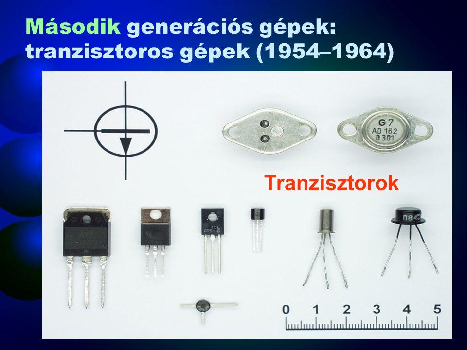 Műveletvégzés: Dióda, tranzisztor Műveletvégzés sebessége: 100 ezer művelet/mp Energia felhasználás: Kisebb, mint az elektroncsöveseké Gép mérete: Kisebb, mint az elektroncsöveseké Megbízhatóság: Megbízhatóbb, mint az elektroncsöves Ára: drága Második generációs gépek: tranzisztoros gépek (1954–1964)