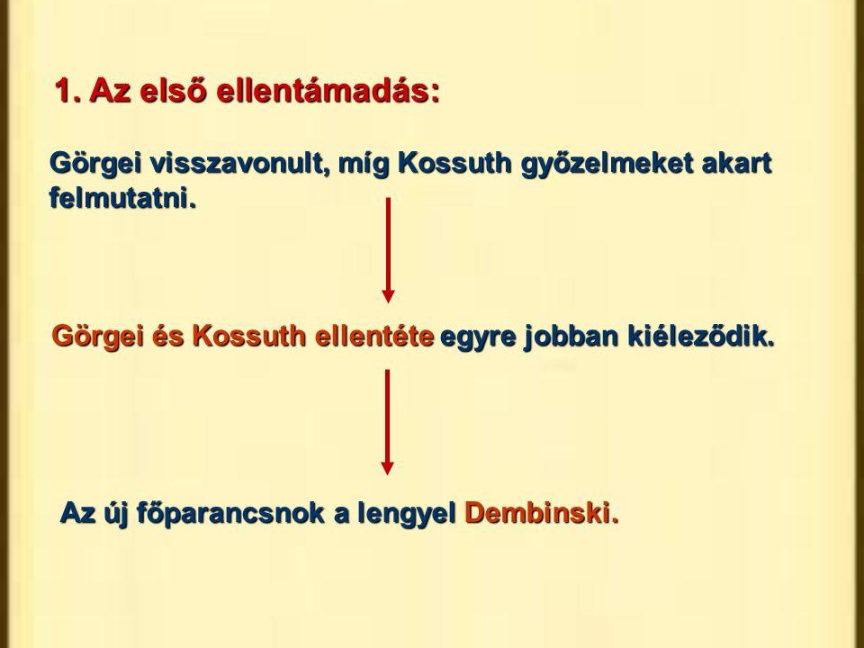 Görgei és Kossuth ellentéte egyre jobban kiéleződik. Az új főparancsnok a lengyel Dembinski. Görgei visszavonult, míg Kossuth győzelmeket akart felmut