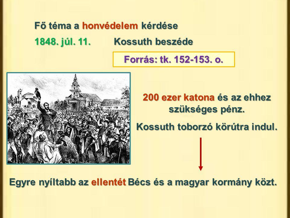 Fő téma a honvédelem kérdése 1848. júl. 11.Kossuth beszéde Forrás: tk. 152-153. o. 200 ezer katona és az ehhez szükséges pénz. Egyre nyíltabb az ellen