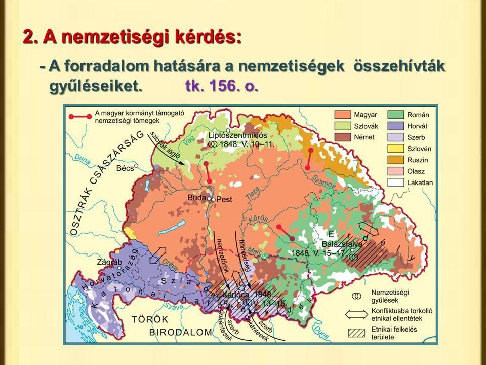 2. A nemzetiségi kérdés: - A forradalom hatására a nemzetiségek összehívták gyűléseiket.tk. 156. o.