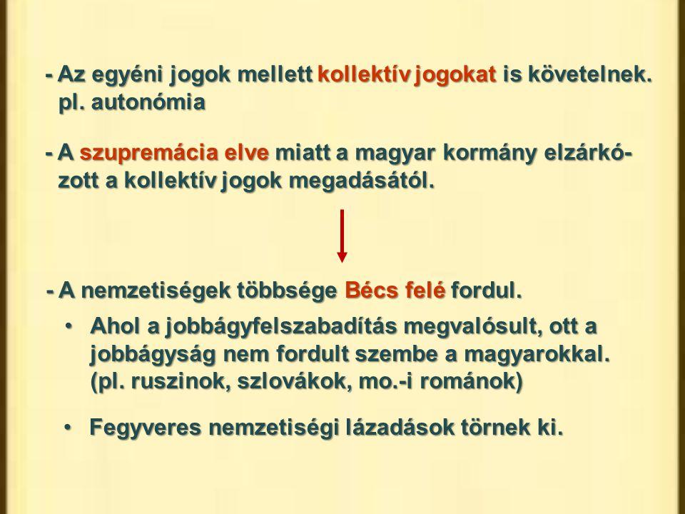 - Az egyéni jogok mellett kollektív jogokat is követelnek. pl. autonómia - A szupremácia elve miatt a magyar kormány elzárkó- zott a kollektív jogok m