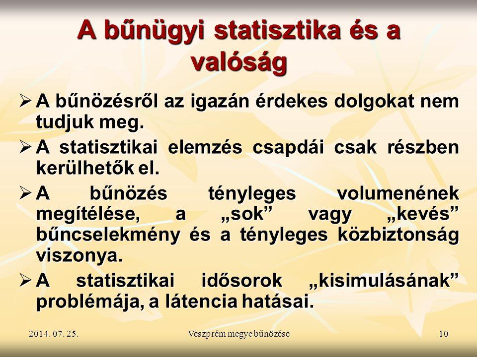 2014. 07. 25.2014. 07. 25.2014. 07. 25.Veszprém megye bűnözése10 A bűnügyi statisztika és a valóság  A bűnözésről az igazán érdekes dolgokat nem tudj