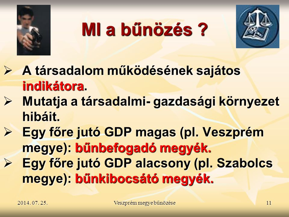 2014. 07. 25.2014. 07. 25.2014. 07. 25.Veszprém megye bűnözése11 MI a bűnözés ?  A társadalom működésének sajátos indikátora.  Mutatja a társadalmi-