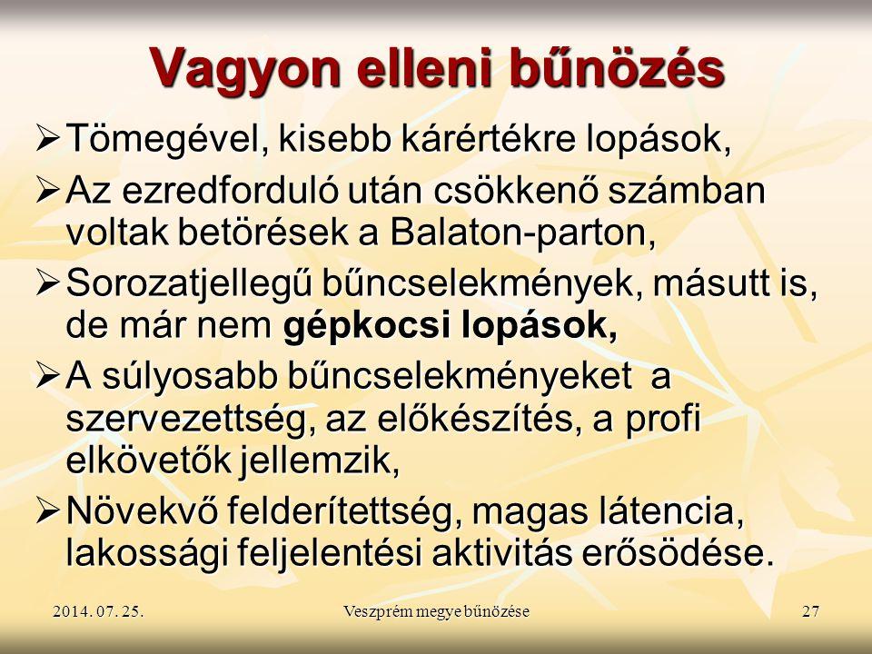 2014. 07. 25.2014. 07. 25.2014. 07. 25.Veszprém megye bűnözése27 Vagyon elleni bűnözés  Tömegével, kisebb kárértékre lopások,  Az ezredforduló után