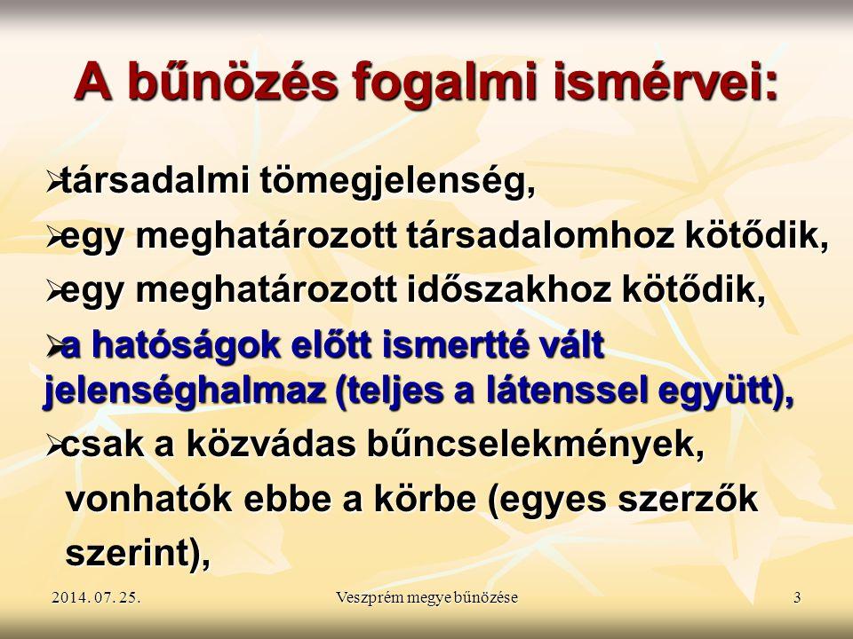 2014. 07. 25.2014. 07. 25.2014. 07. 25.Veszprém megye bűnözése3 A bűnözés fogalmi ismérvei:  társadalmi tömegjelenség,  egy meghatározott társadalom