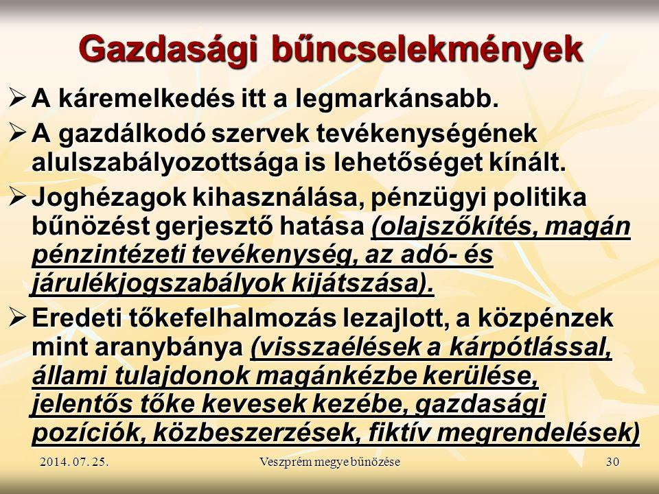 2014. 07. 25.2014. 07. 25.2014. 07. 25.Veszprém megye bűnözése30 Gazdasági bűncselekmények  A káremelkedés itt a legmarkánsabb.  A gazdálkodó szerve