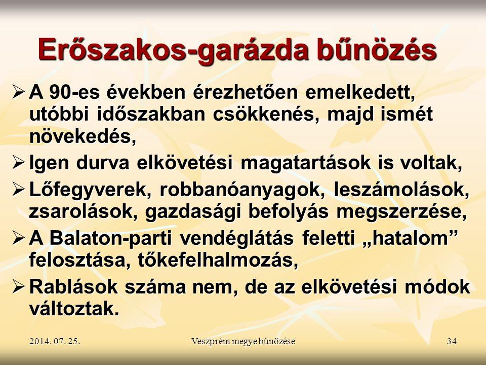 2014. 07. 25.2014. 07. 25.2014. 07. 25.Veszprém megye bűnözése34 Erőszakos-garázda bűnözés  A 90-es években érezhetően emelkedett, utóbbi időszakban
