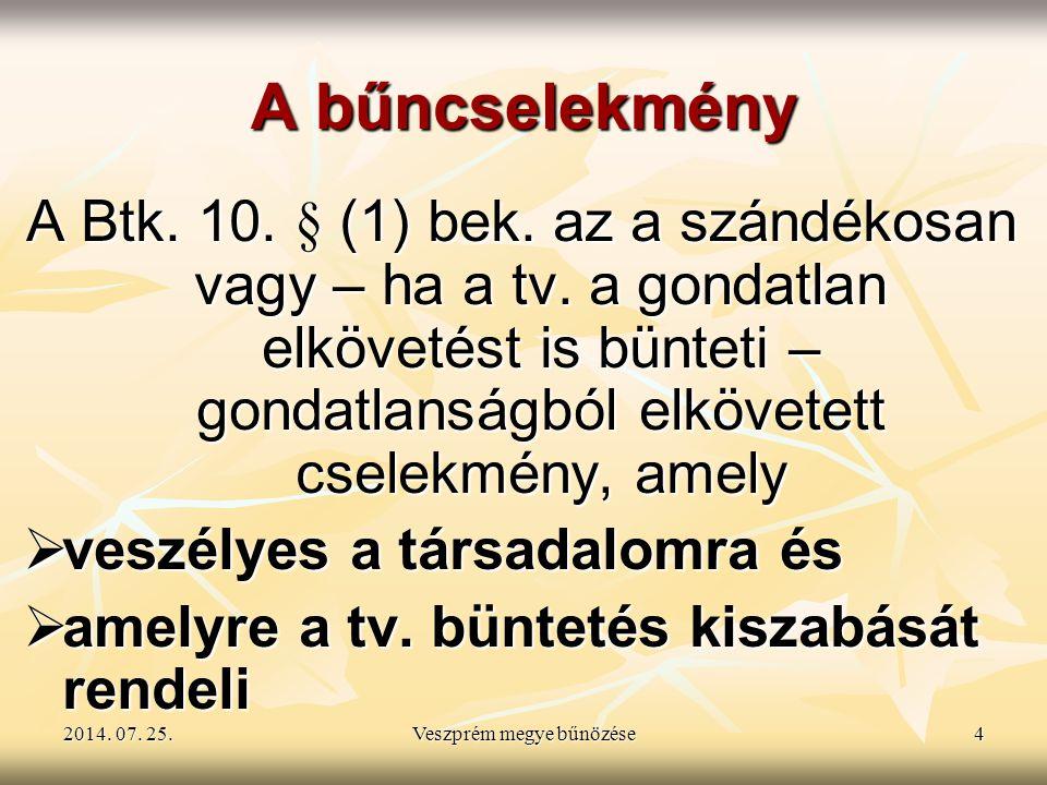 2014. 07. 25.2014. 07. 25.2014. 07. 25.Veszprém megye bűnözése4 A bűncselekmény A Btk. 10. § (1) bek. az a szándékosan vagy – ha a tv. a gondatlan elk