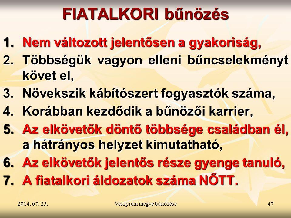 2014. 07. 25.2014. 07. 25.2014. 07. 25.Veszprém megye bűnözése47 FIATALKORI bűnözés 1.Nem változott jelentősen a gyakoriság, 2.Többségük vagyon elleni