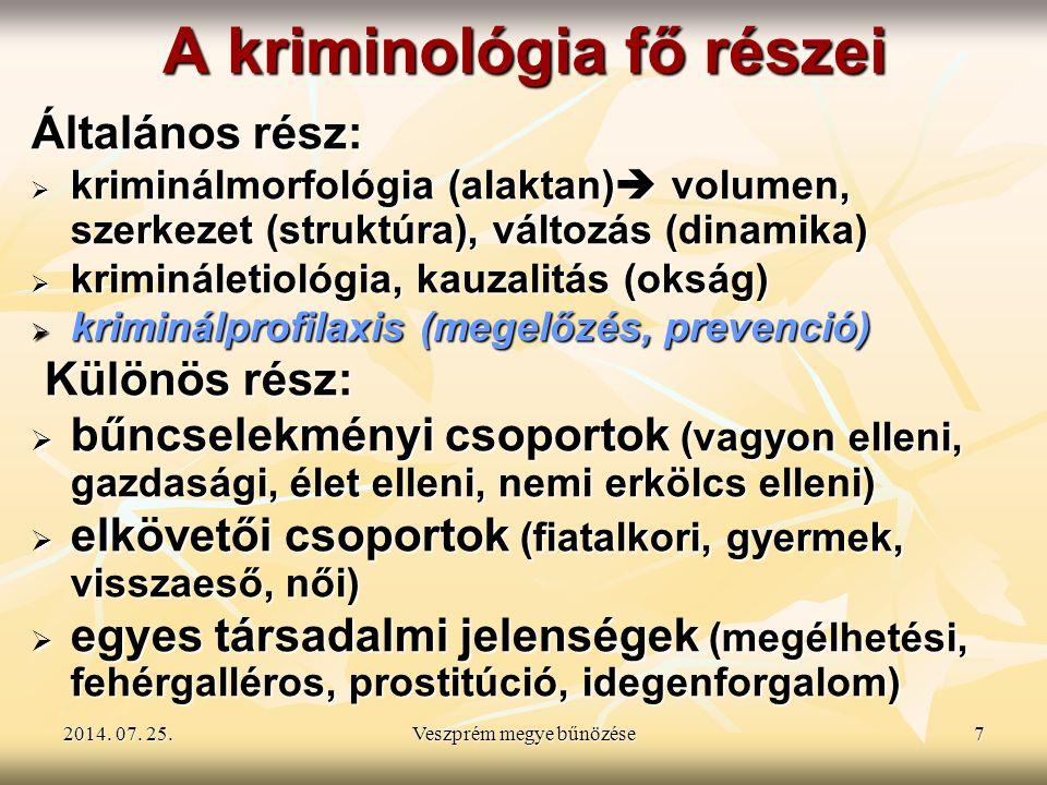 2014. 07. 25.2014. 07. 25.2014. 07. 25.Veszprém megye bűnözése7 A kriminológia fő részei Általános rész:  kriminálmorfológia (alaktan)  volumen, sze