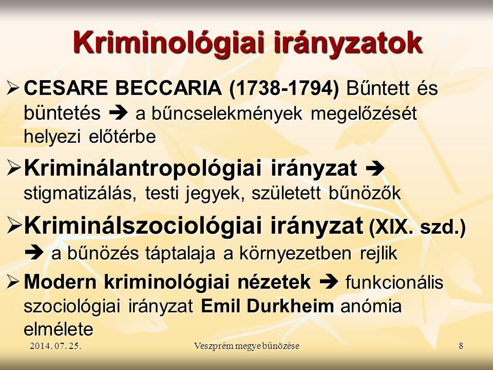 2014. 07. 25.2014. 07. 25.2014. 07. 25.Veszprém megye bűnözése8 Kriminológiai irányzatok  CESARE BECCARIA (1738-1794) Bűntett és büntetés  a bűncsel