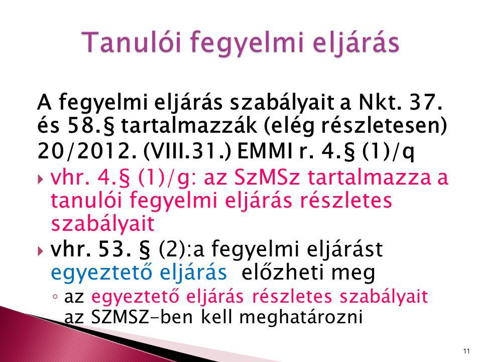 A fegyelmi eljárás szabályait a Nkt. 37. és 58.§ tartalmazzák (elég részletesen) 20/2012. (VIII.31.) EMMI r. 4.§ (1)/q  vhr. 4.§ (1)/g: az SzMSz tart