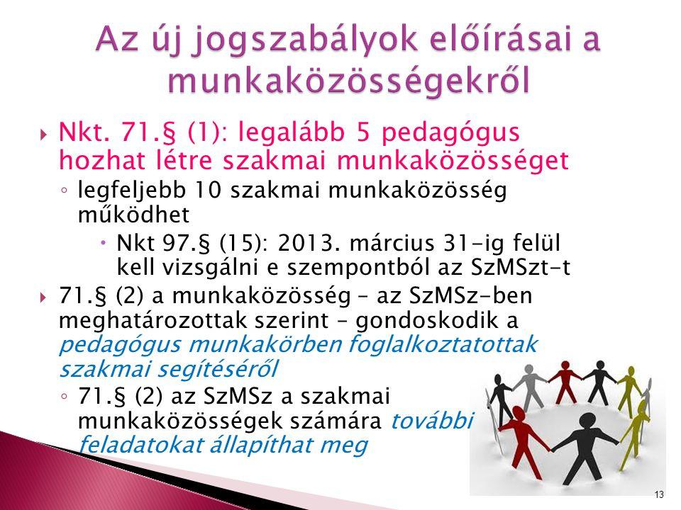  Nkt. 71.§ (1): legalább 5 pedagógus hozhat létre szakmai munkaközösséget ◦ legfeljebb 10 szakmai munkaközösség működhet  Nkt 97.§ (15): 2013. márci