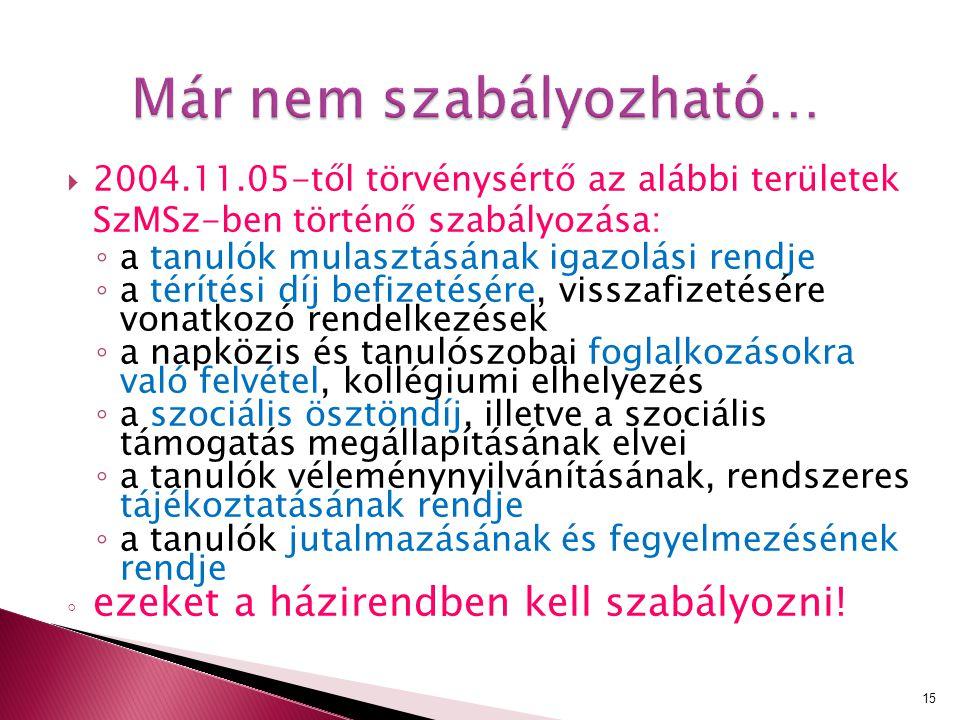 Már nem szabályozható…  2004.11.05-től törvénysértő az alábbi területek SzMSz-ben történő szabályozása: ◦ a tanulók mulasztásának igazolási rendje ◦