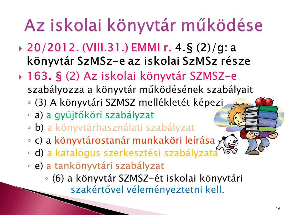  20/2012. (VIII.31.) EMMI r. 4.§ (2)/g: a könyvtár SzMSz-e az iskolai SzMSz része  163. § (2) Az iskolai könyvtár SZMSZ-e szabályozza a könyvtár műk