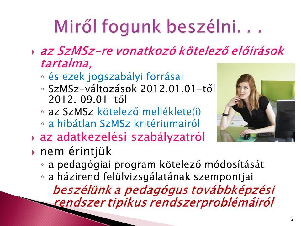  az SzMSz-re vonatkozó kötelező előírások tartalma, ◦ és ezek jogszabályi forrásai ◦ SzMSz-változások 2012.01.01-től és 2012. 09.01-től ◦ az SzMSz kö