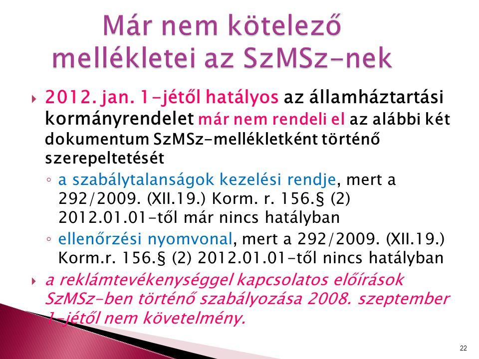 2012. jan. 1-jétől hatályos az államháztartási kormányrendelet már nem rendeli el az alábbi két dokumentum SzMSz-mellékletként történő szerepeltetés