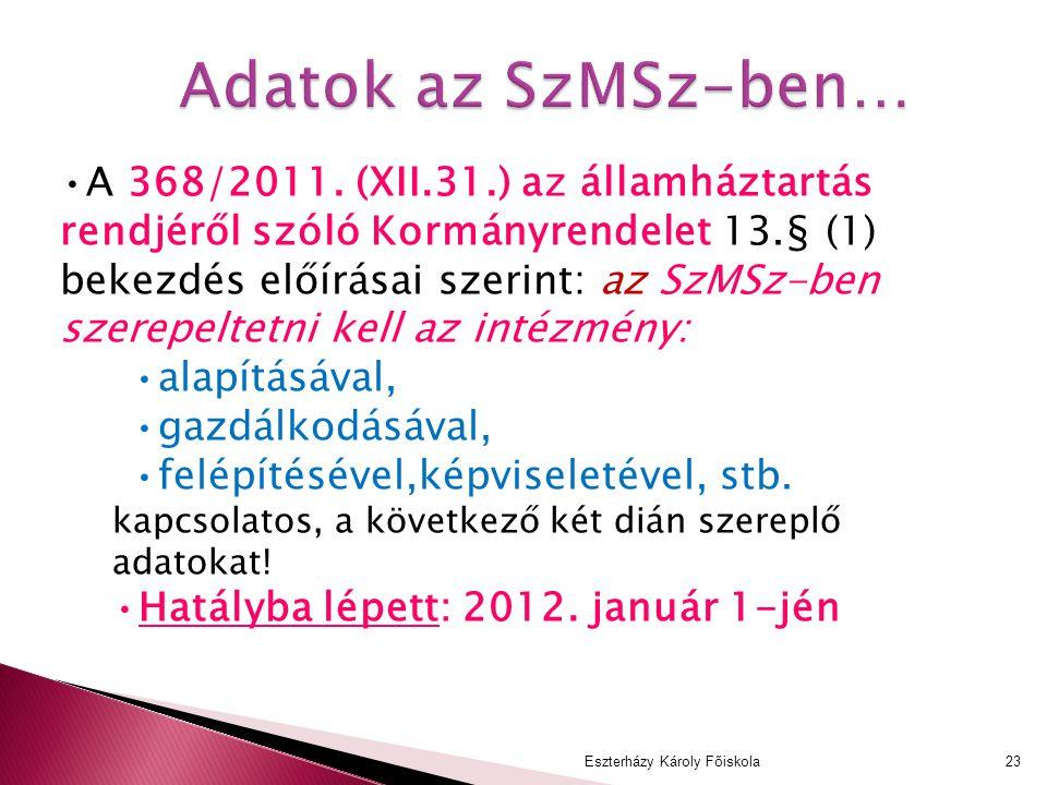 Adatok az SzMSz-ben… A 368/2011. (XII.31.) az államháztartás rendjéről szóló Kormányrendelet 13.§ (1) bekezdés előírásai szerint: az SzMSz-ben szerepe