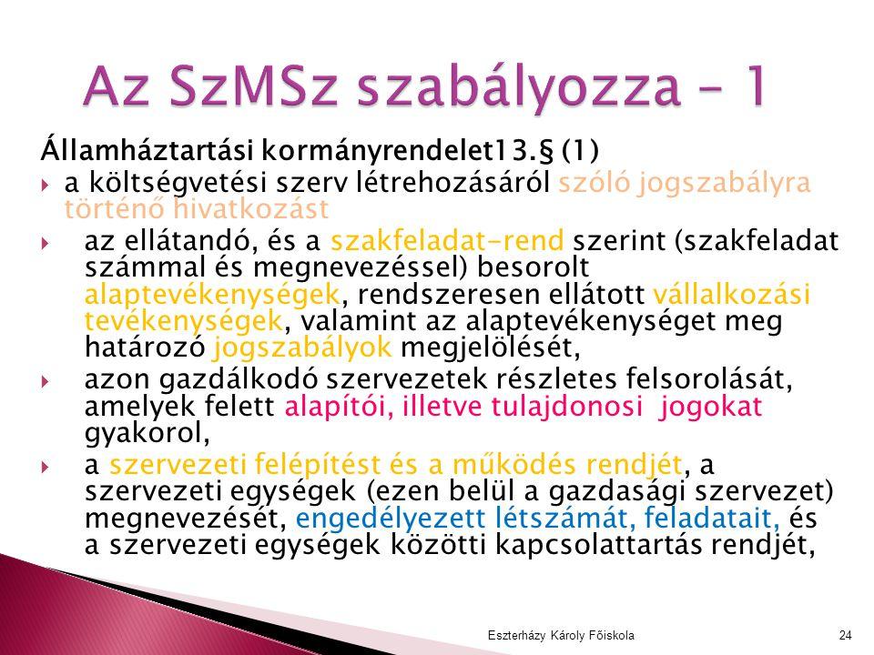 Az SzMSz szabályozza – 1 Államháztartási kormányrendelet13.§ (1)  a költségvetési szerv létrehozásáról szóló jogszabályra történő hivatkozást  az el