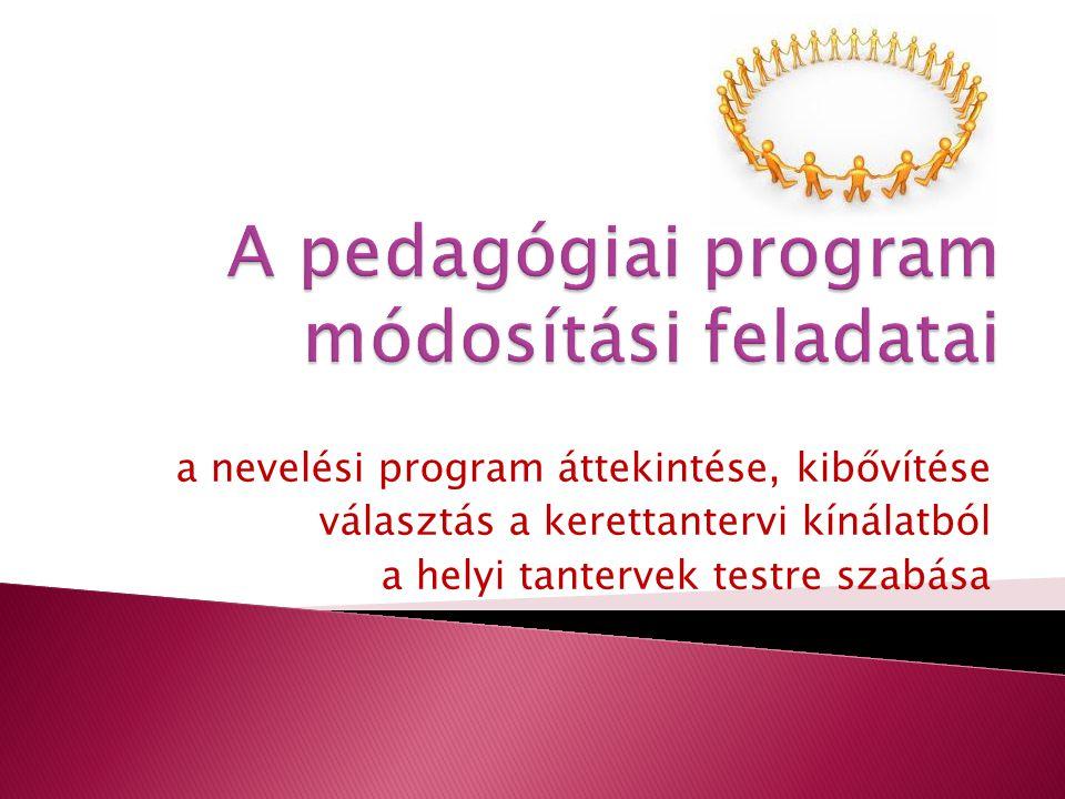 a nevelési program áttekintése, kibővítése választás a kerettantervi kínálatból a helyi tantervek testre szabása