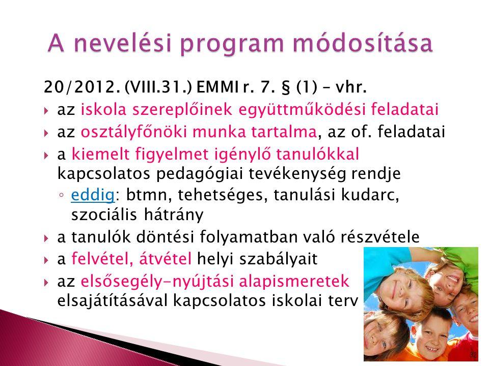A nevelési program módosítása 20/2012. (VIII.31.) EMMI r. 7. § (1) – vhr.  az iskola szereplőinek együttműködési feladatai  az osztályfőnöki munka t