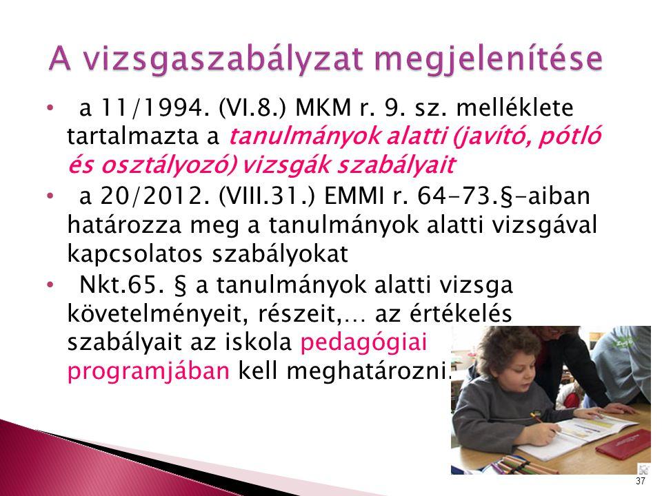 a 11/1994. (VI.8.) MKM r. 9. sz. melléklete tartalmazta a tanulmányok alatti (javító, pótló és osztályozó) vizsgák szabályait a 20/2012. (VIII.31.) EM