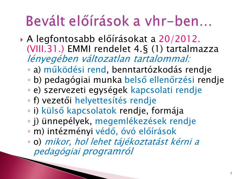  A legfontosabb előírásokat a 20/2012. (VIII.31.) EMMI rendelet 4.§ (1) tartalmazza lényegében változatlan tartalommal: ◦ a) működési rend, benntartó