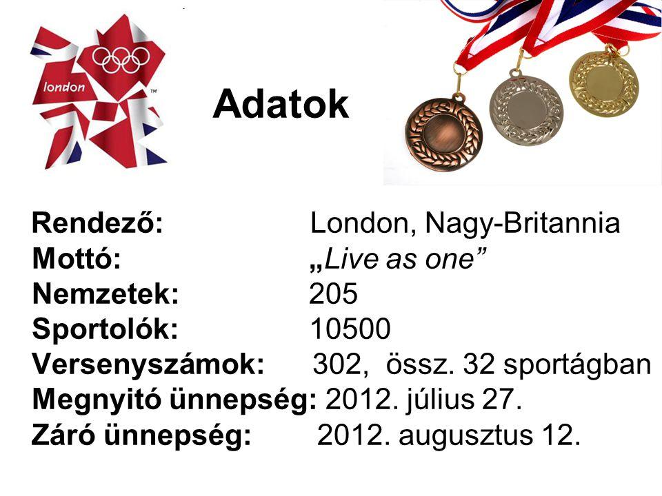 """Adatok Rendező: London, Nagy-Britannia Mottó: """"Live as one"""" Nemzetek: 205 Sportolók: 10500 Versenyszámok: 302, össz. 32 sportágban Megnyitó ünnepség:"""