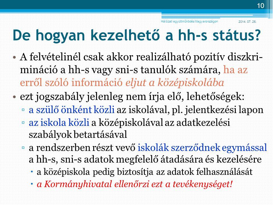 2014. 07. 25. 10 De hogyan kezelhető a hh-s státus? A felvételinél csak akkor realizálható pozitív diszkri- mináció a hh-s vagy sni-s tanulók számára,