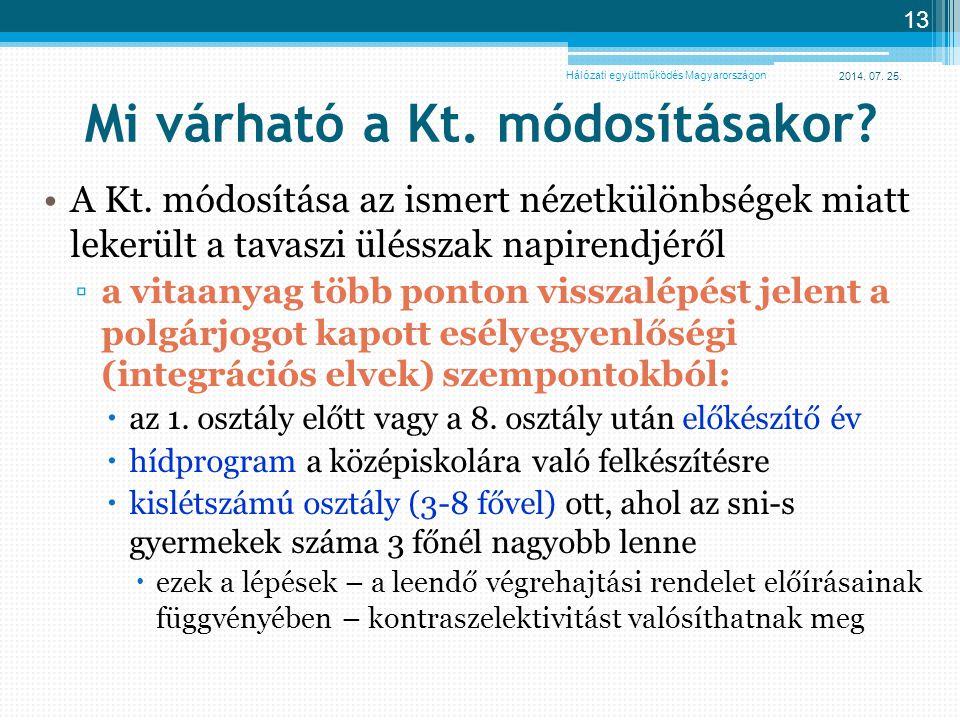 2014. 07. 25. 13 Mi várható a Kt. módosításakor? A Kt. módosítása az ismert nézetkülönbségek miatt lekerült a tavaszi ülésszak napirendjéről ▫a vitaan