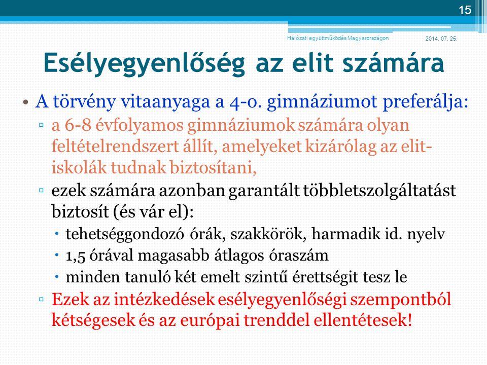 2014. 07. 25. 15 Esélyegyenlőség az elit számára A törvény vitaanyaga a 4-o. gimnáziumot preferálja: ▫a 6-8 évfolyamos gimnáziumok számára olyan felté