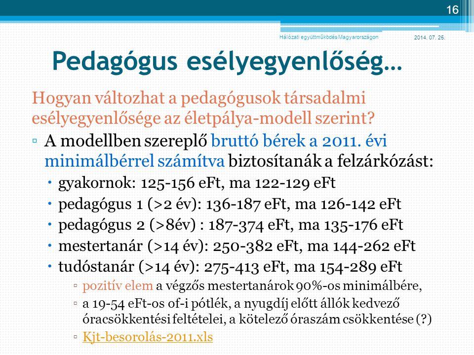 2014. 07. 25. 16 Pedagógus esélyegyenlőség… Hogyan változhat a pedagógusok társadalmi esélyegyenlősége az életpálya-modell szerint? ▫A modellben szere