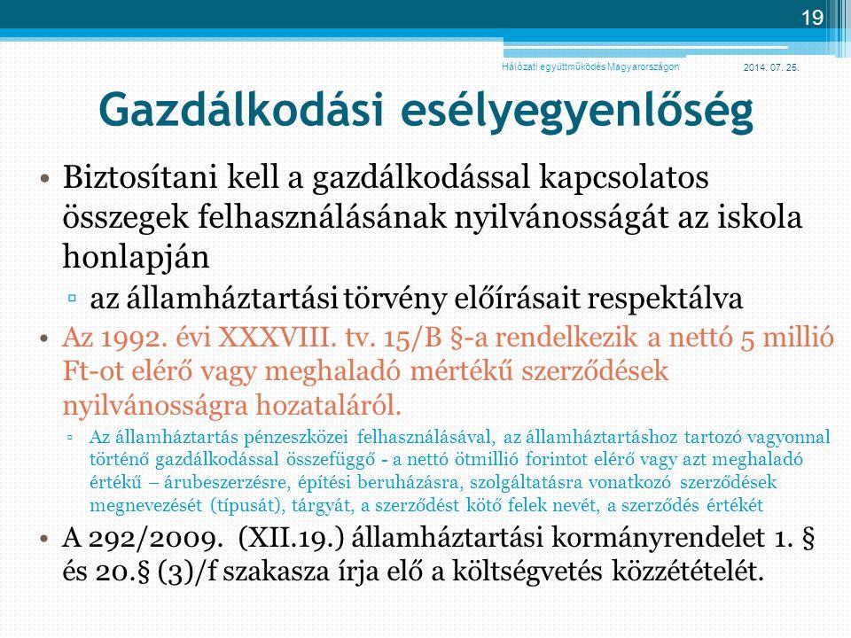 2014. 07. 25. 19 Gazdálkodási esélyegyenlőség Biztosítani kell a gazdálkodással kapcsolatos összegek felhasználásának nyilvánosságát az iskola honlapj