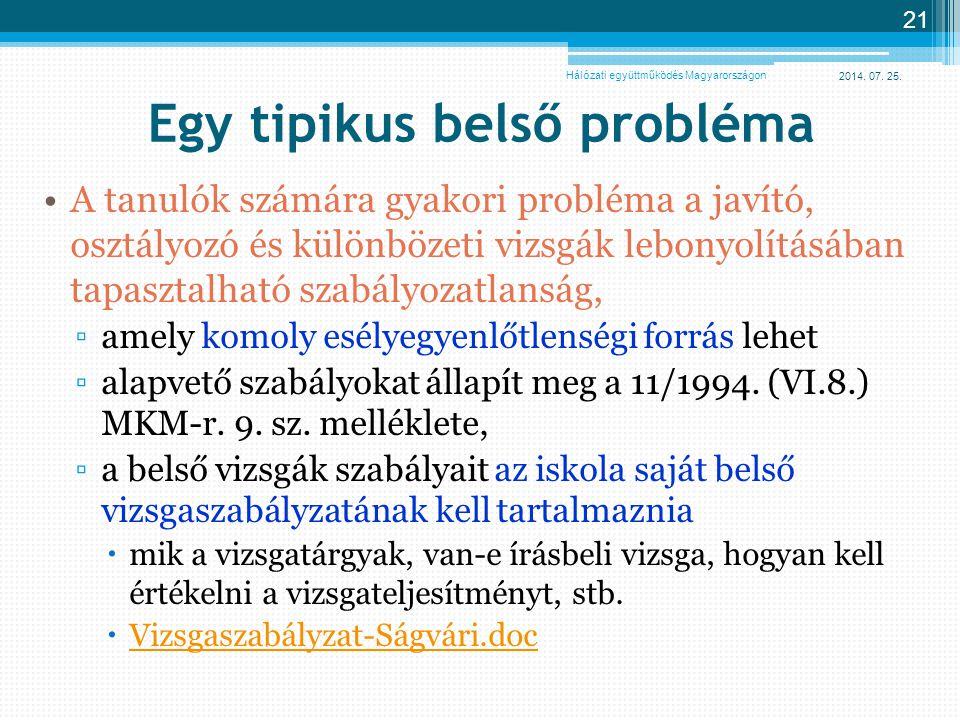 2014. 07. 25. 21 Egy tipikus belső probléma A tanulók számára gyakori probléma a javító, osztályozó és különbözeti vizsgák lebonyolításában tapasztalh