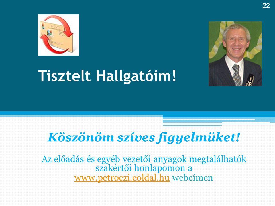 Tisztelt Hallgatóim! Köszönöm szíves figyelmüket! Az előadás és egyéb vezetői anyagok megtalálhatók szakértői honlapomon a www.petroczi.eoldal.huwww.p