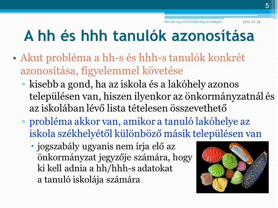 2014. 07. 25. 5 A hh és hhh tanulók azonosítása Akut probléma a hh-s és hhh-s tanulók konkrét azonosítása, figyelemmel követése ▫kisebb a gond, ha az