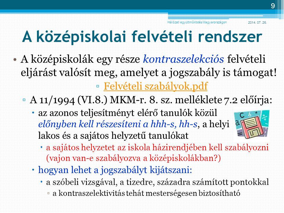 2014. 07. 25. 9 A középiskolai felvételi rendszer A középiskolák egy része kontraszelekciós felvételi eljárást valósít meg, amelyet a jogszabály is tá