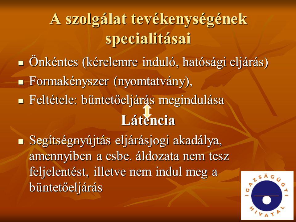 A szolgálat tevékenységének specialitásai Önkéntes (kérelemre induló, hatósági eljárás) Önkéntes (kérelemre induló, hatósági eljárás) Formakényszer (n