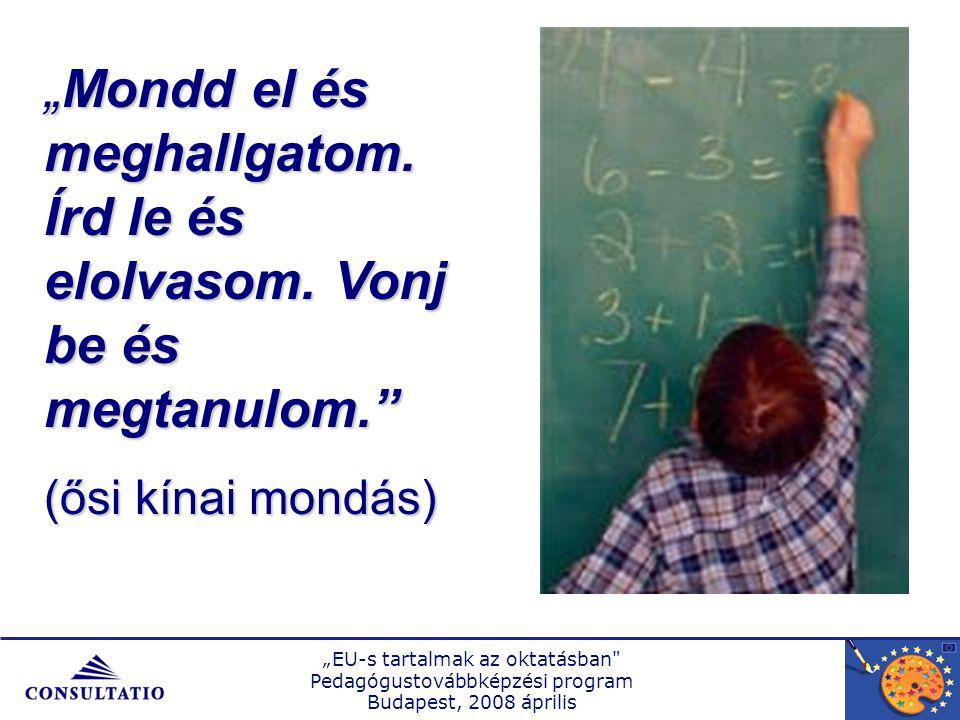 """""""EU-s tartalmak az oktatásban Pedagógustovábbképzési program Budapest, 2008 április """"Mondd el és meghallgatom."""